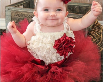 Vintage Inspired Christmas Burgundy Tutu with Headband Brooch and Ruffled Romper Set NB to 24 SEWN