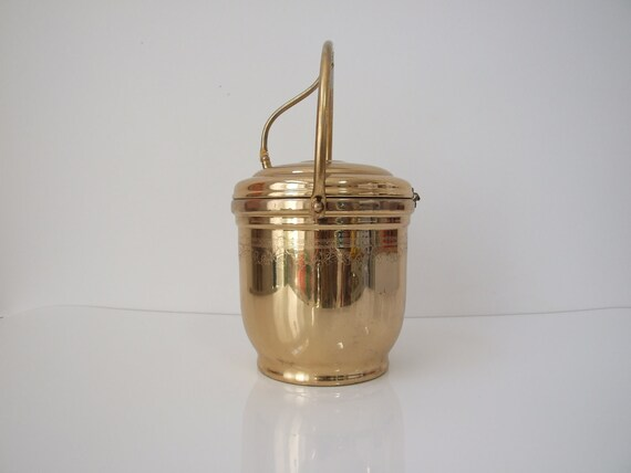 RESERVED Vintage Brass and Glass Ice Bucket