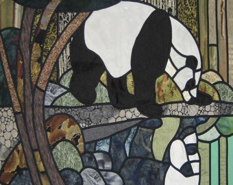 "Stain Glass Quilt Pattern "" Panda Reflections"""