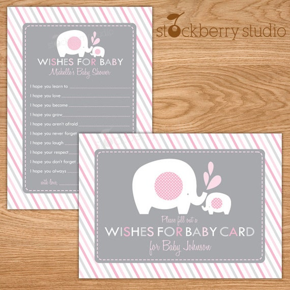 Wishes for Baby Card Printable Elephant Baby Shower