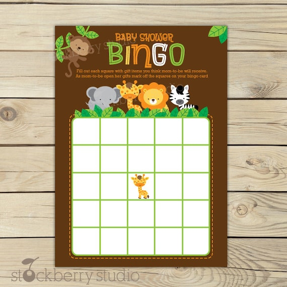 Safari Jungle Baby Shower Bingo Game Printable Instant
