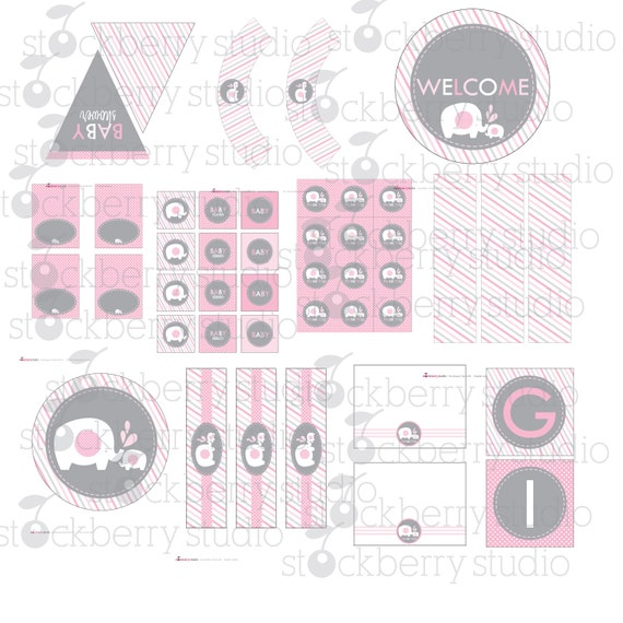 elephant pink and gray baby shower printable party package instant