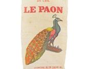 Vintage Peacock Feed Sack Grain Bag French Linen Le Paon International Milling Company Minneapolis
