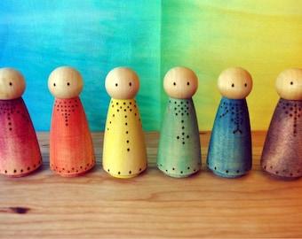 Wooden Princess Dolls, Peg People Rustic Rainbow Waldorf Dollhouse Dolls