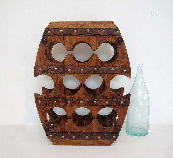 Vintage wine rack large wooden barrel shape by brooklynstvintage - Wine rack shaped like wine bottle ...