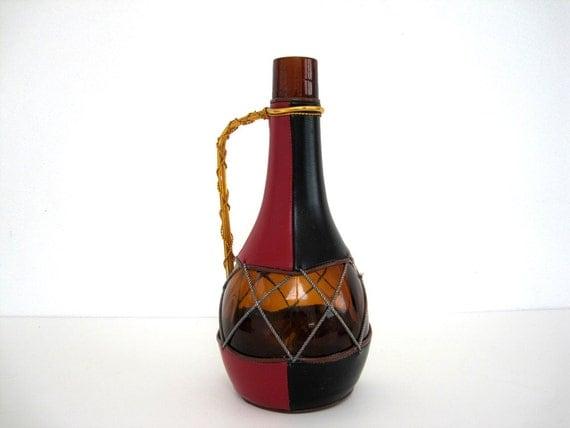 Vintage Bottle Wine Decanter Leather Three Tone Spain Albinana Olleria