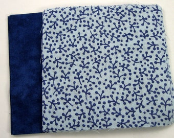 Blue Print and Solid Blue Fabric 20 - 4 inch Fabric Quilt  Squares