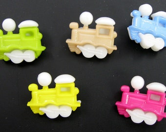 Multicolored Train Buttons  Set of Five