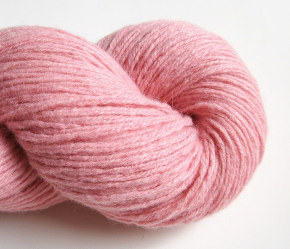 Worsted Luxury Wool Blend Recycled Yarn, Soft Pink, Two Skeins, 260 Yards
