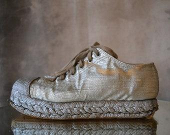 1980s ESPRIT Silver Platform Sneakers