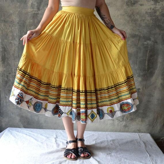 1950s Yellow Hopi Square Dance Skirt