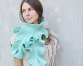 Mint felted elted scarf  turquoise teal blue ruffle wool collar weddings fashion aquamarine winter fashion