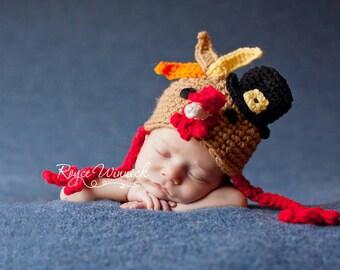 PDF Instant Download Crochet Pattern No 267 Turkey Hat photo prop sizes preemie, newborn. 0-3, 3-6 months