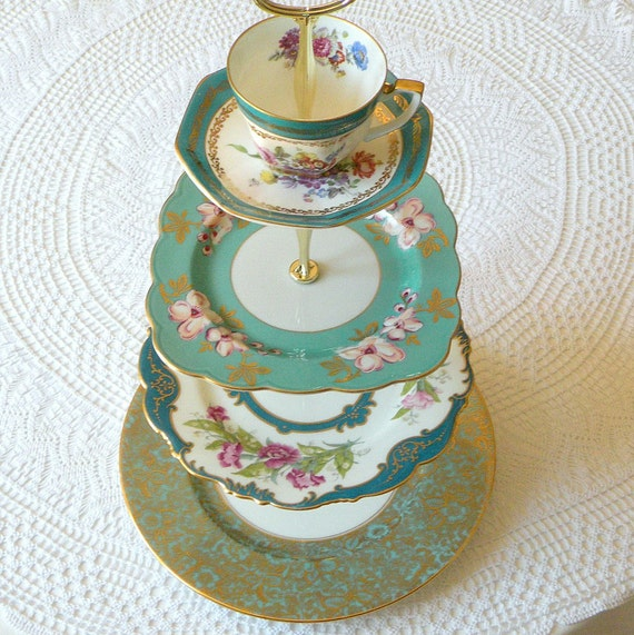 Alice in Teal, Large 4 Tier Aqua Cupcake Stand of Vintage China for Mini Wedding Cakes, Royal Dessert Display or Garden Birthday Party