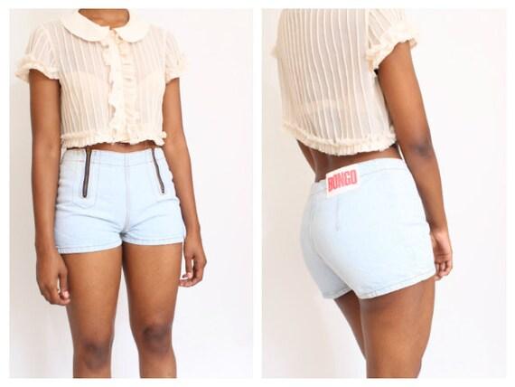 Vtg BONGO Double Zipper High Waist Shorts size 9