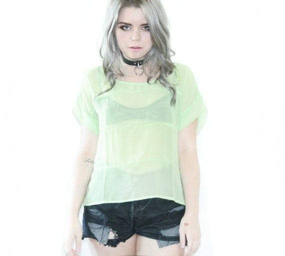 Pastel Green Sheer See Through Crop Top