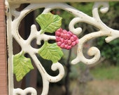 "Rustic Shabby Cream /  Grapevine Cast Iron Brackets / Metal Wall Decor / 12 "" / Shabby Chic Shelf"