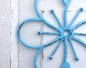 Aqua Flower Hook- Vintage Inspired -Rustic Garden Flower - Sea Bliss Blue - Bright Shabby Chic - Metal Wall Decor - Tiffany Blue -Aqua Decor