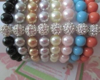 Girls bracelet - pave bead bracelets - crystal bracelet - pearl bracelets