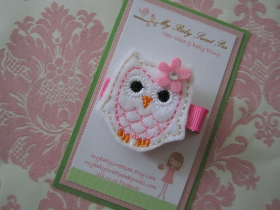 girls hair clip - olivia the spring owl hair clip - no slip hair clip