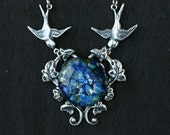 Swallow Necklace with Blue Opal