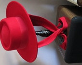 Street Smart by Betmar Vintage Red wool hat with attached scarf