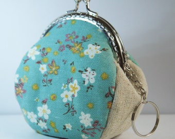 Kiss Lock Frame Women Bridesmaid Snap Purses Coin Purse Mini Wallet-Daisy Flowers Grass