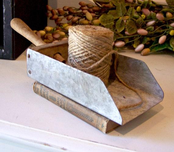 Vintage Farmhouse Primitive Galvanized Tin and Wood Scoop