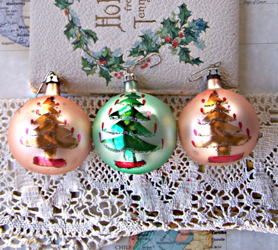 Three Hand Painted Christmas Tree Shiny Brite Christmas Ornaments