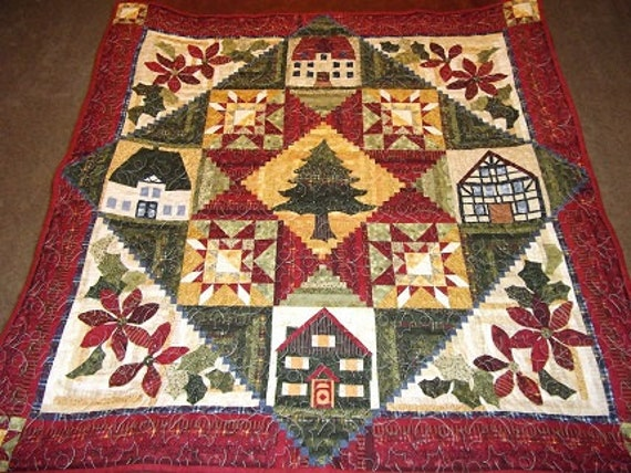 Home for the Holidays Patchwork Appliqued Quilt