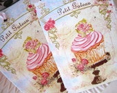 French Pastry CUP CAKES Gift Tags no225 - Shabby - Pink - Roses - Embossed - Birthday - Tea Party - Wedding - Shower - Buy 3 Get 1 Free