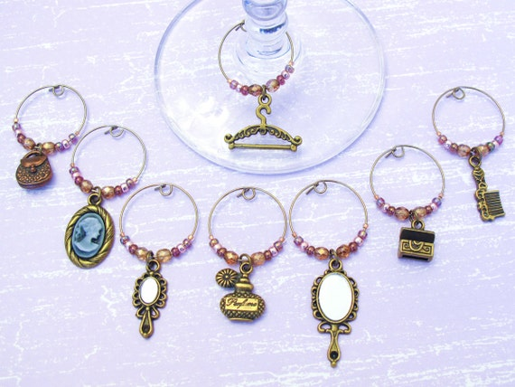 Fashion Accessories Wine Charms - Set of 8 Antiqued Bronze Wine Glass Charms