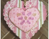 FOUR Pink and Gold Victorian Striped Lacy Double Hearts Retro Charm Flower Sweethearts Handmade All Occasion Gift Tags