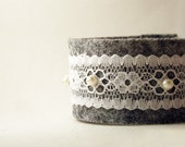 Romantic Mood Handmade Felt Charcoal White Lace Pearl Beads cuff bracelet