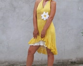 Airy crocheted/knitted yellow sundress...S/M/L