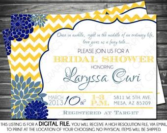 Bridal Shower Invitation - Chevron, Yellow, Navy Blue, Mums, Printable, Digital