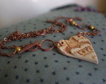 Clay Heart and Copper Necklace