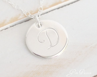 Initial Necklace, Sterling Silver, Large Monogram, 1/2 inch Disc, Personalized, Custom Hand Stamped, Monogram Necklace, Choose Initial/font