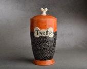 "Dog Treat Jar Made To Order ""Treats"" Orange and Clear Black Dog Treat Jar by Symmetrical Pottery"
