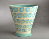 Vase: Hand Painted Hip To Be Squares Vase by Symmetrical Pottery