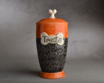 "Dog Treat Jar Made To Order ""Treats"" Orange and Clear Black Dog Treat Jar by Symmetrical Pottery"