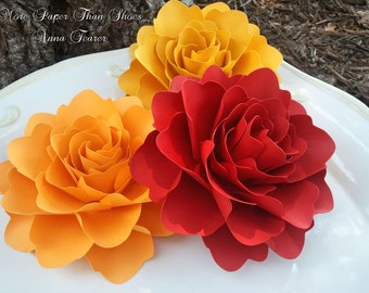 Paper Flowers - Wedding Decorations - X-Large Handmade Roses - Set of 12 - Custom Made - Firebird