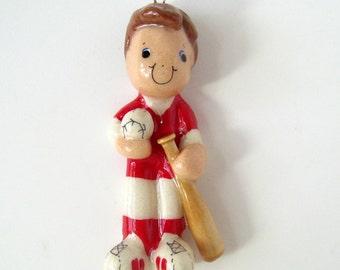 Baseball ornament handmade from bread dough by judy caron