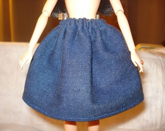 Fashion Doll Coordinates - Blue Denim full skirt- es92