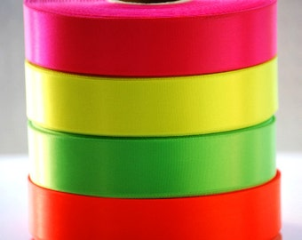 "10 YDs x 1"" NEON High Density Single Face Satin Ribbon (4 Color Choices)"
