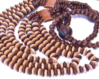 Wood Beads: Large Assortment of Wood Beads for Long Wooden Beaded Necklace, Multi-Color Wood Bead Kit, Bead Assortment