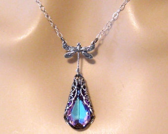Dragonfly Necklace, Victorian Jewelry, Bridesmaid Gift, Victorian Wedding Jewelry, Purple Swarovski Bridesmaid Necklace, Sterling Silver