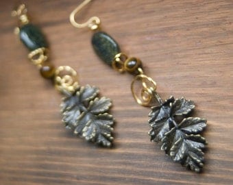 Gold Oak Leaf, TigerEye and Green Serpantine Earrings with Gold Parawire and Brass Ear Wires - Gilded Forest - Art Jewelry by Sarah McTernen
