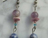 Creamy colorful rich amethyst puka shell lapis lazuli glass bead earrings