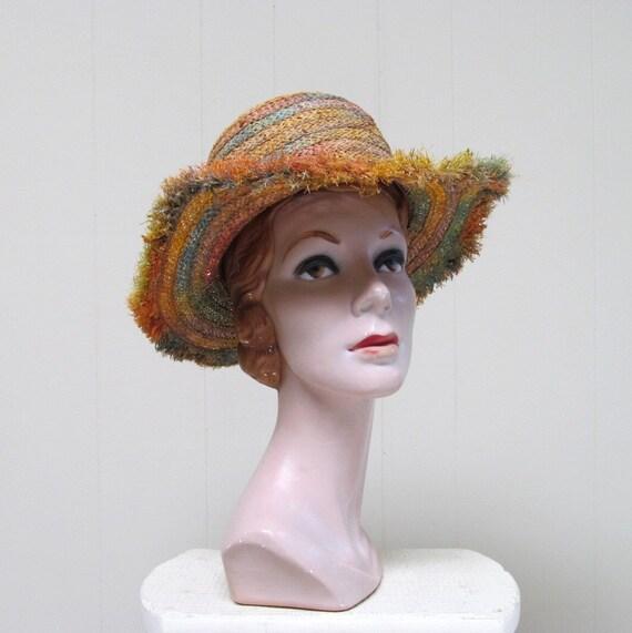 Vintage 1960s Straw Hat / 60s Multicolored Woven Sun Hat / Miriam Lefcourt
